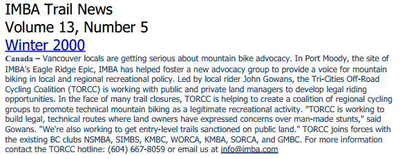 IMBA Trail News Article